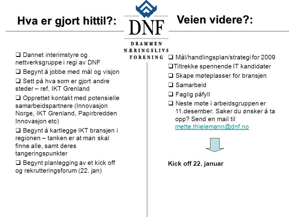 Hva er gjort hittil :  Dannet interimstyre og nettverksgruppe i regi av DNF  Begynt å jobbe med mål og visjon  Sett på hva som er gjort andre steder – ref.