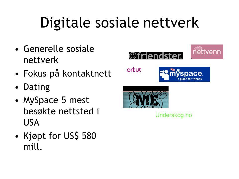 Digitale sosiale nettverk •Generelle sosiale nettverk •Fokus på kontaktnett •Dating •MySpace 5 mest besøkte nettsted i USA •Kjøpt for US$ 580 mill.