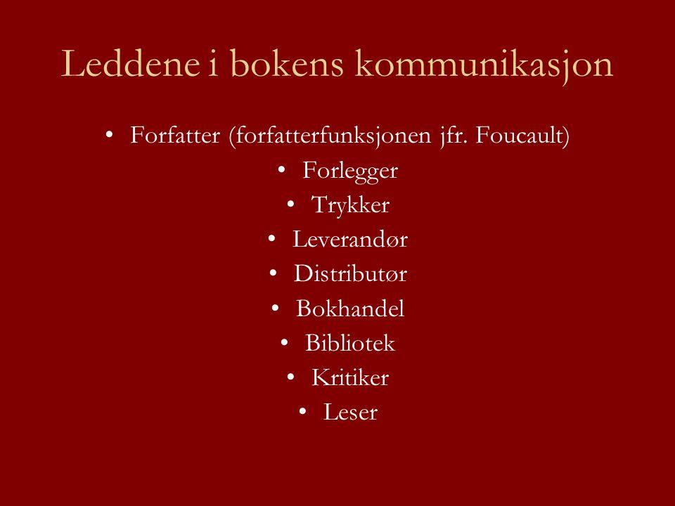 Leddene i bokens kommunikasjon •Forfatter (forfatterfunksjonen jfr. Foucault) •Forlegger •Trykker •Leverandør •Distributør •Bokhandel •Bibliotek •Krit
