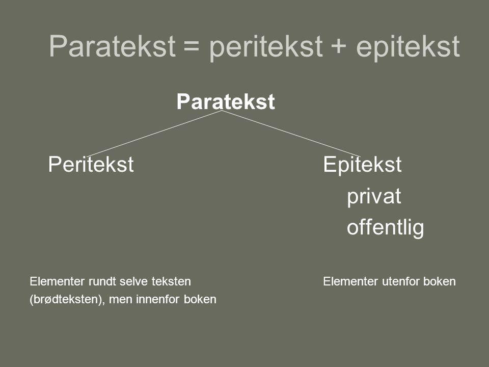 Paratekst = peritekst + epitekst Paratekst PeritekstEpitekst privat offentlig Elementer rundt selve teksten Elementer utenfor boken (brødteksten), men