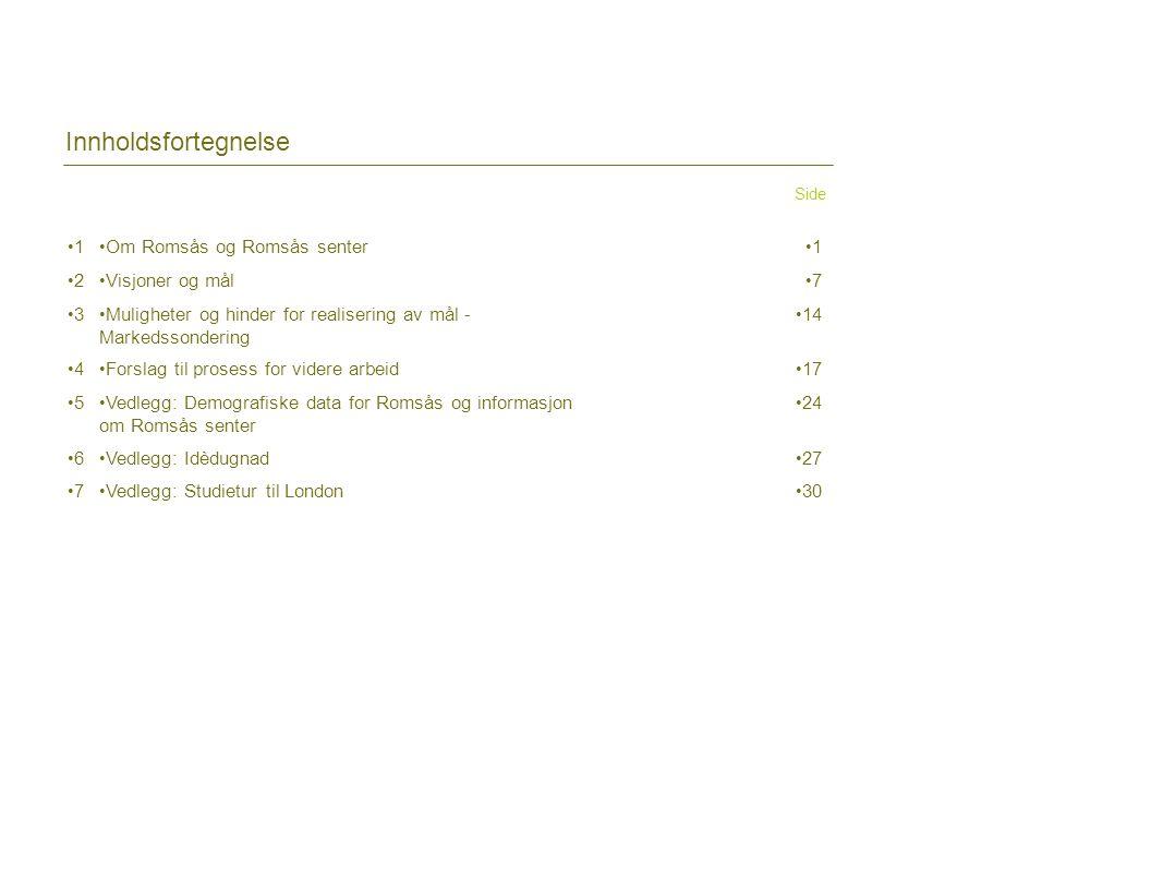 Innholdsfortegnelse Side •1•1 • Om Romsås og Romsås senter •1•1 •2•2 • Visjoner og mål •7•7 •3•3 • Muligheter og hinder for realisering av mål - Marke