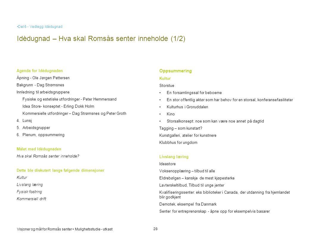Visjoner og mål for Romsås senter • Mulighetsstudie - utkast Idèdugnad – Hva skal Romsås senter inneholde (1/2) 28 Agenda for Idèdugnaden Åpning - Ole