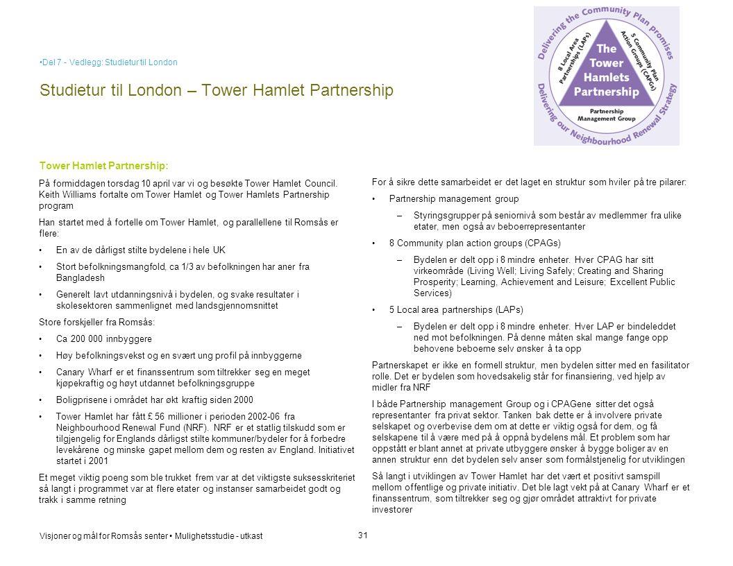 Visjoner og mål for Romsås senter • Mulighetsstudie - utkast Studietur til London – Tower Hamlet Partnership 31 Tower Hamlet Partnership: På formiddag