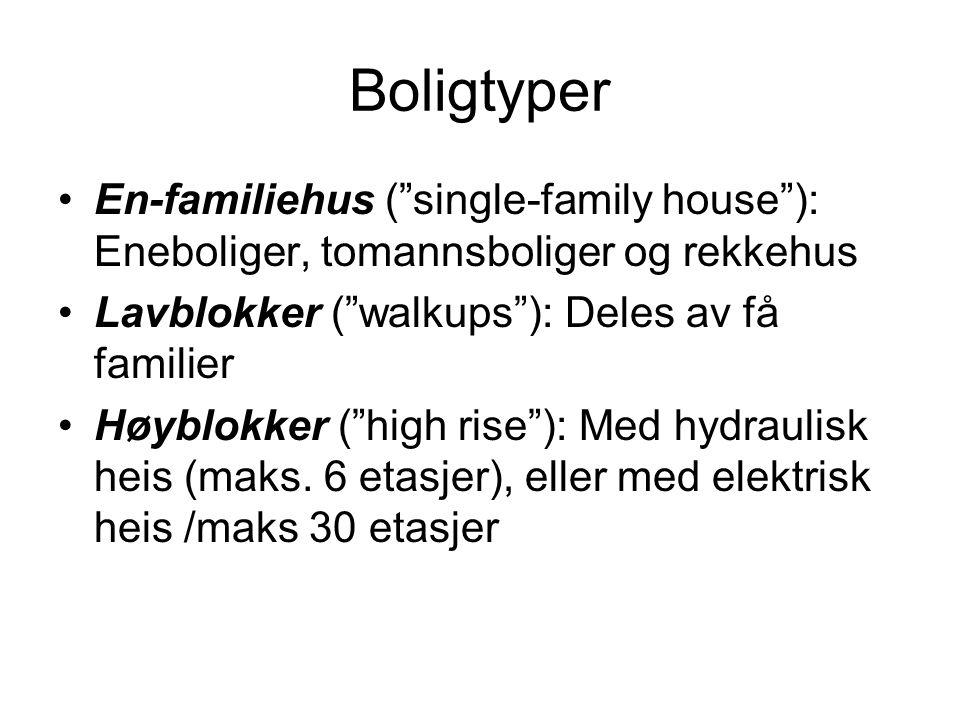 Boligtyper •En-familiehus ( single-family house ): Eneboliger, tomannsboliger og rekkehus •Lavblokker ( walkups ): Deles av få familier •Høyblokker ( high rise ): Med hydraulisk heis (maks.