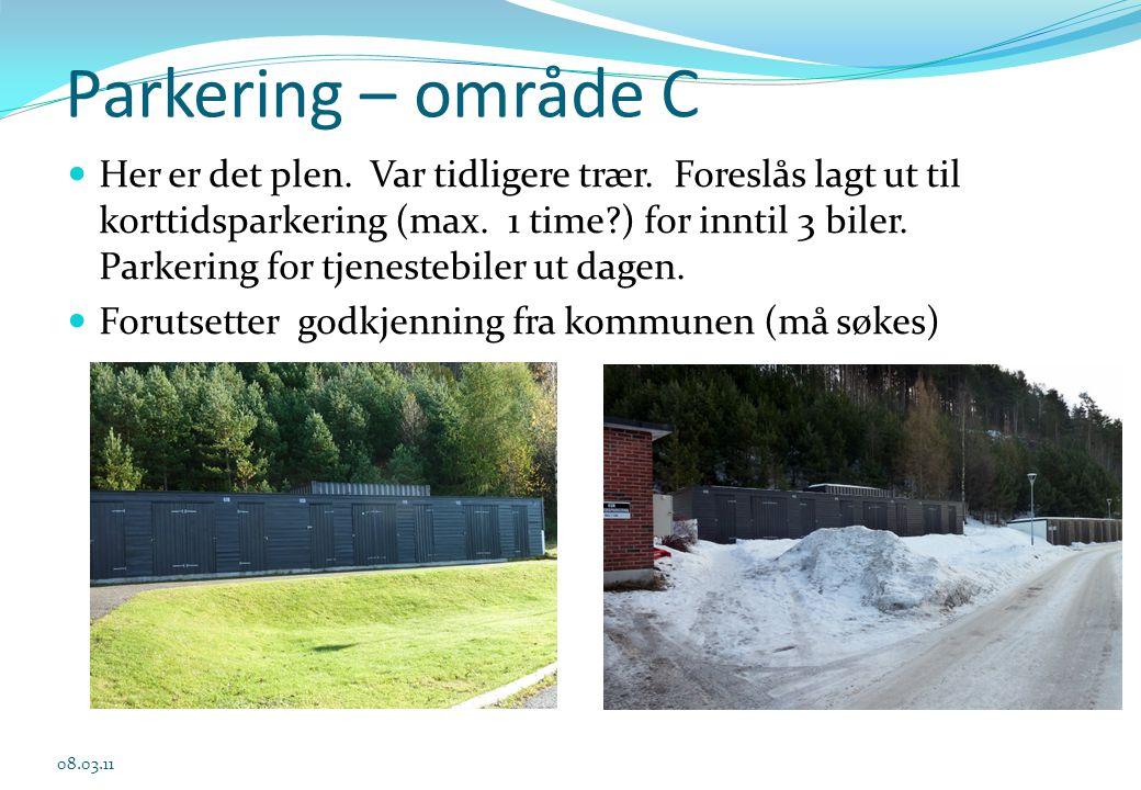 Parkering – område C  Her er det plen. Var tidligere trær. Foreslås lagt ut til korttidsparkering (max. 1 time?) for inntil 3 biler. Parkering for tj