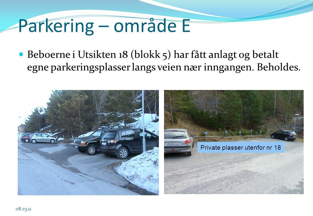 Parkering – område E  Beboerne i Utsikten 18 (blokk 5) har fått anlagt og betalt egne parkeringsplasser langs veien nær inngangen. Beholdes. 08.03.11