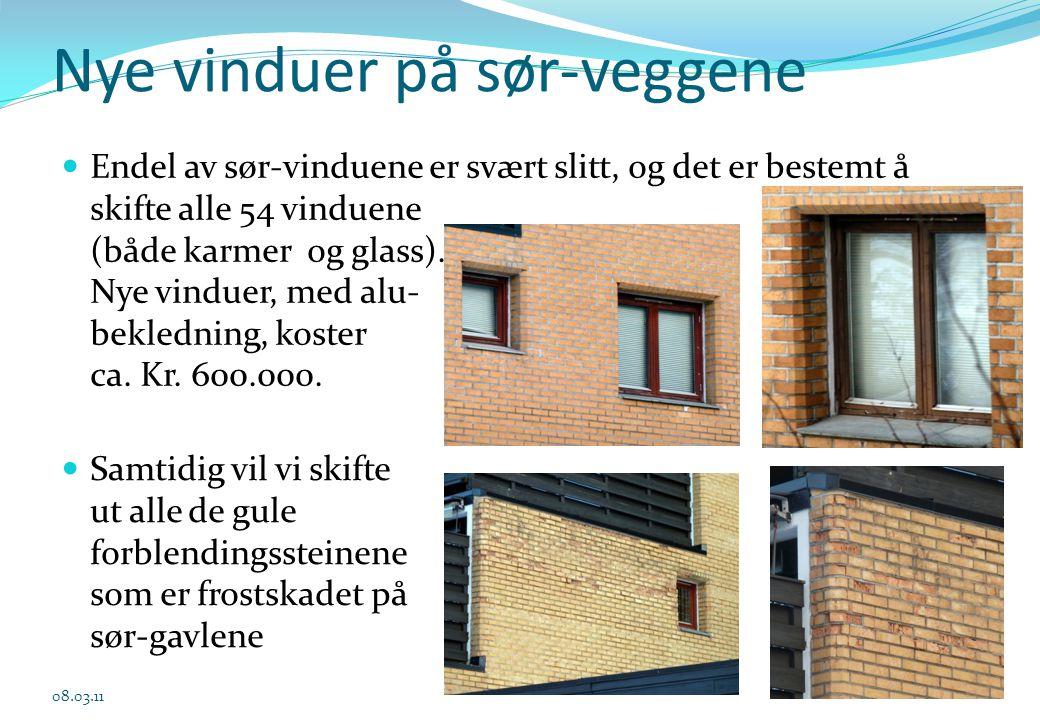 Nye vinduer på sør-veggene  Endel av sør-vinduene er svært slitt, og det er bestemt å skifte alle 54 vinduene (både karmer og glass). Nye vinduer, me