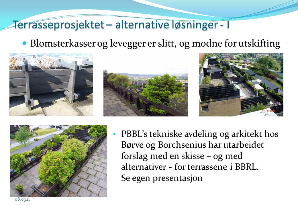 Terrasseprosjektet – alternative løsninger - I 08.03.11 • PBBL's tekniske avdeling og arkitekt hos Børve og Borchsenius har utarbeidet forslag med en