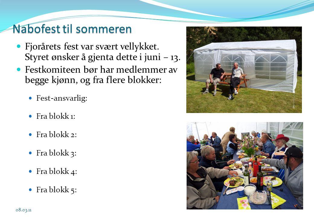 Nabofest til sommeren  Fjorårets fest var svært vellykket. Styret ønsker å gjenta dette i juni – 13.  Festkomiteen bør har medlemmer av begge kjønn,