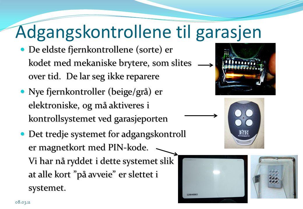 Adgangskontrollene til garasjen 08.03.11  De eldste fjernkontrollene (sorte) er kodet med mekaniske brytere, som slites over tid. De lar seg ikke rep