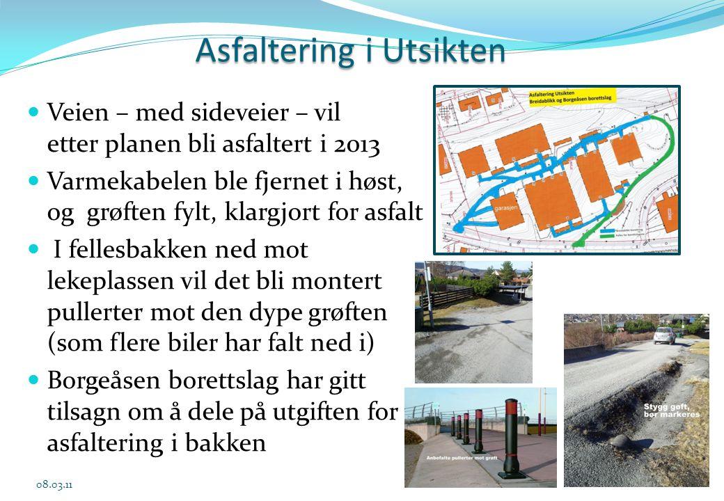 Asfaltering i Utsikten  Veien – med sideveier – vil etter planen bli asfaltert i 2013  Varmekabelen ble fjernet i høst, og grøften fylt, klargjort f