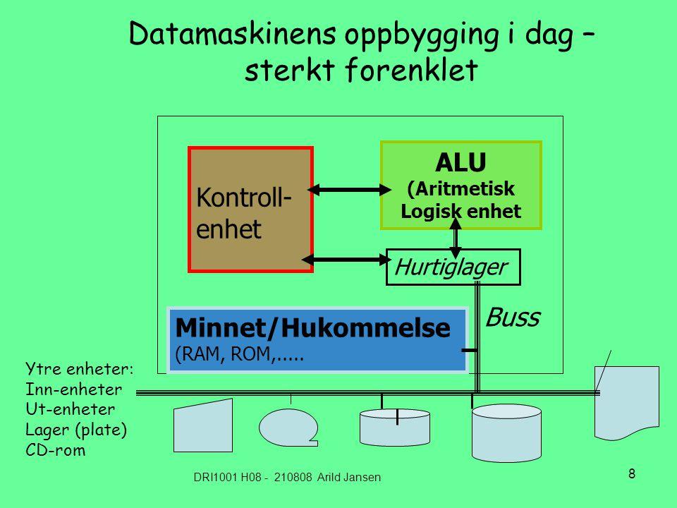 DRI1001 H08 - 210808 Arild Jansen 8 Datamaskinens oppbygging i dag – sterkt forenklet ALU (Aritmetisk Logisk enhet Minnet/Hukommelse (RAM, ROM,.....