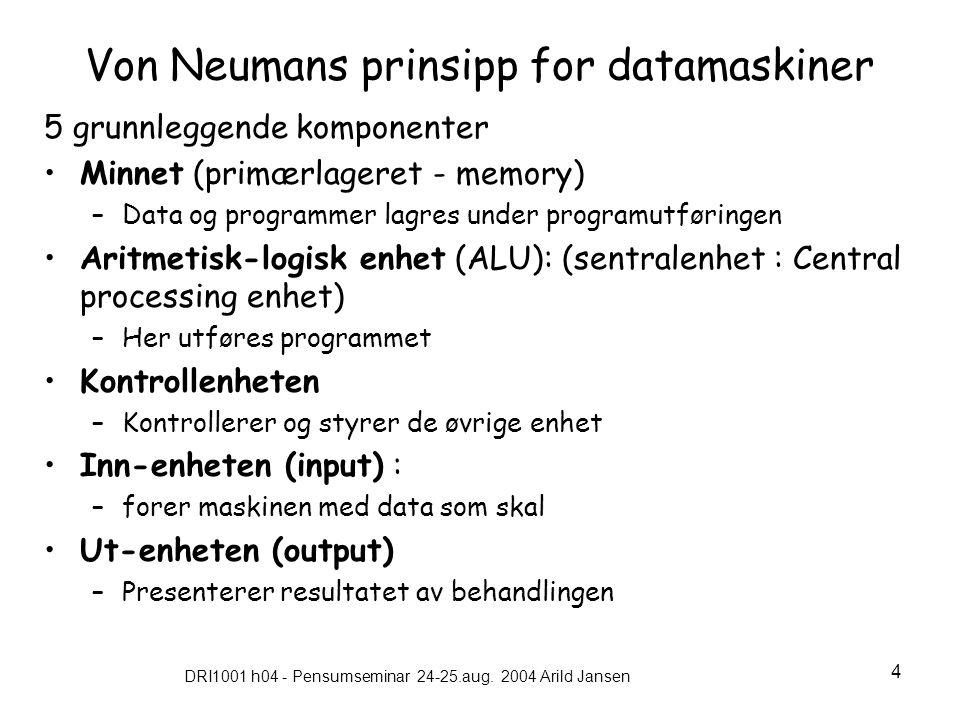 DRI1001 h04 - Pensumseminar 24-25.aug. 2004 Arild Jansen 4 Von Neumans prinsipp for datamaskiner 5 grunnleggende komponenter •Minnet (primærlageret -