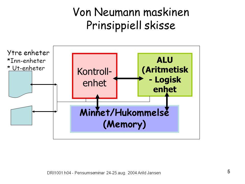 DRI1001 h04 - Pensumseminar 24-25.aug. 2004 Arild Jansen 5 Von Neumann maskinen Prinsippiell skisse ALU (Aritmetisk - Logisk enhet Minnet/Hukommelse (