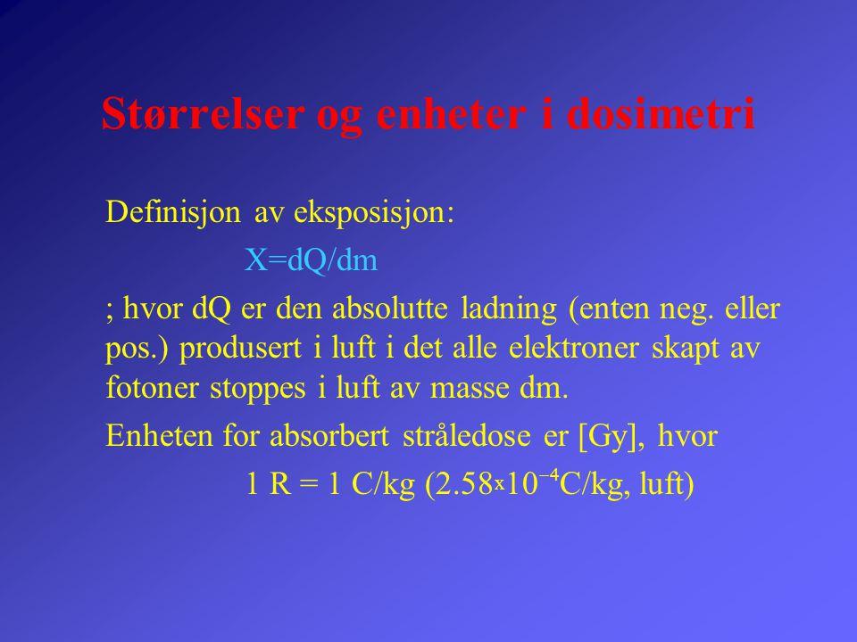 Størrelser og enheter i dosimetri Definisjon av eksposisjon: X=dQ/dm  hvor  dQ er den absolutte ladning (enten neg. eller pos.) produsert i luft i