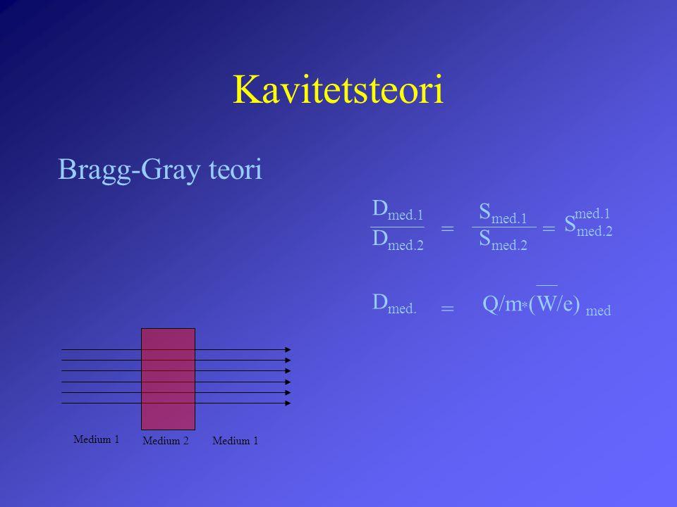 Kavitetsteori Bragg-Gray teori Medium 1 Medium 2 D med.1 D med.2 = S med.2 S med.1 = S med.2 med.1 D med. = Q/m * (W/e) med