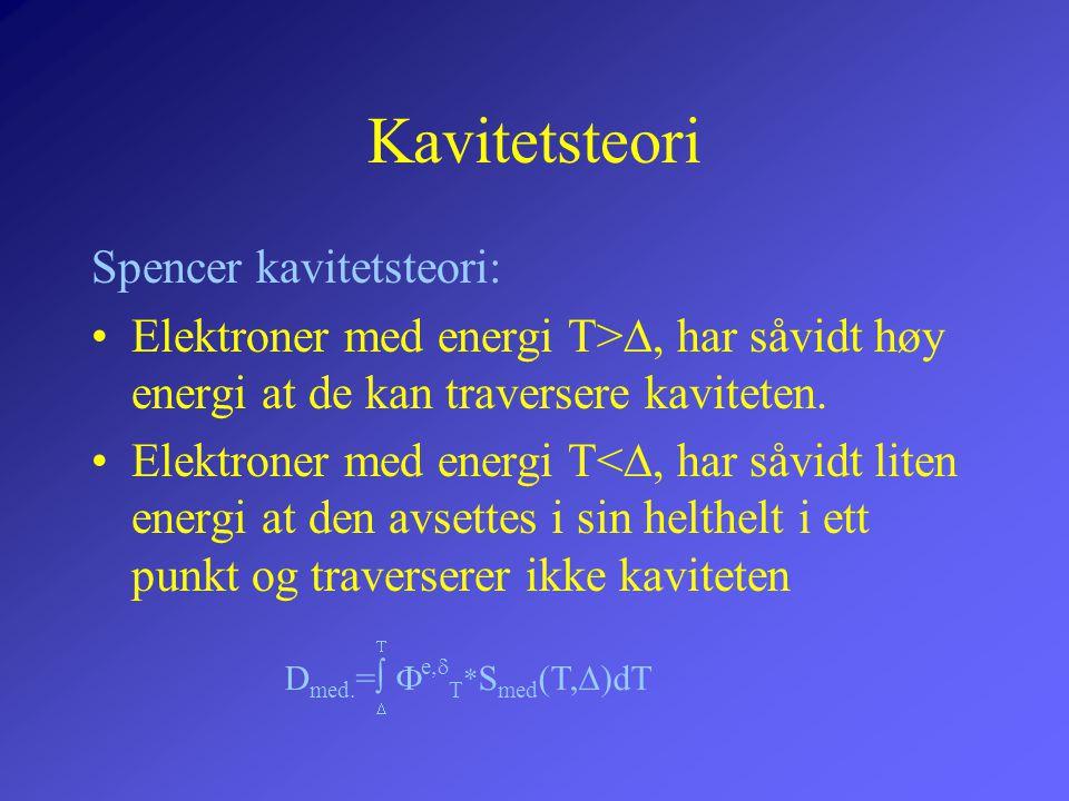 Kavitetsteori Spencer kavitetsteori: •Elektroner med energi T> , har såvidt høy energi at de kan traversere kaviteten. •Elektroner med energi T< , h