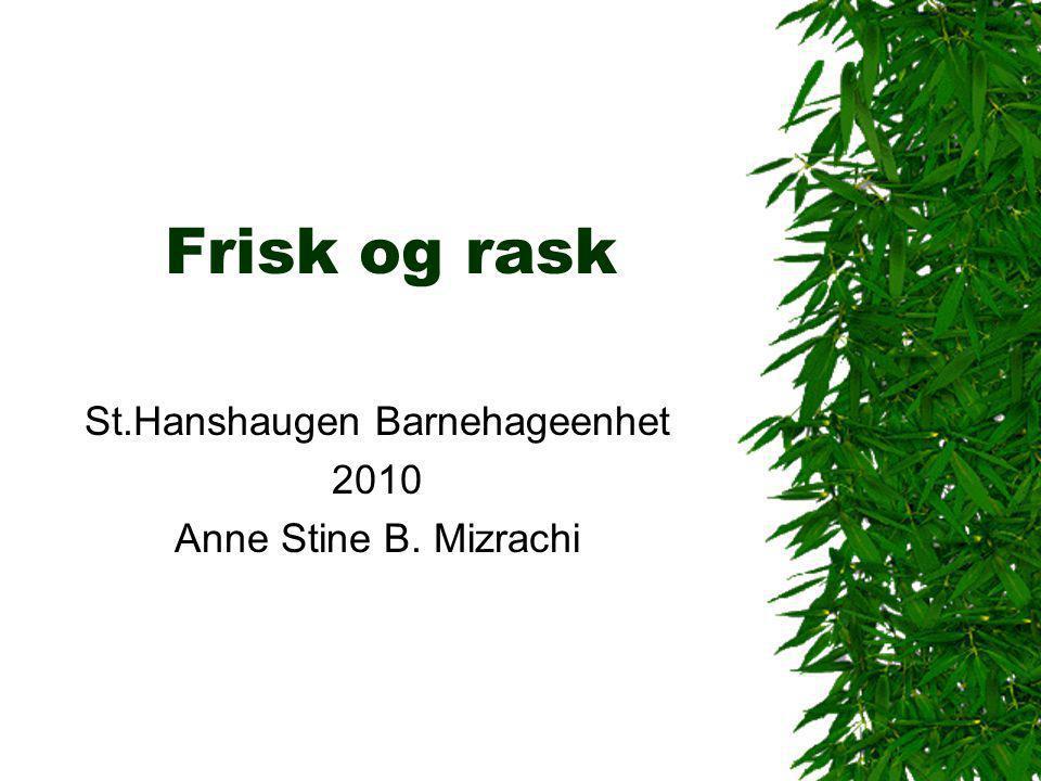 Frisk og rask St.Hanshaugen Barnehageenhet 2010 Anne Stine B. Mizrachi