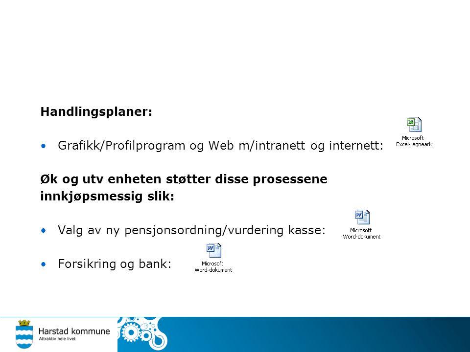 Handlingsplaner: •Grafikk/Profilprogram og Web m/intranett og internett: Øk og utv enheten støtter disse prosessene innkjøpsmessig slik: •Valg av ny pensjonsordning/vurdering kasse: •Forsikring og bank: