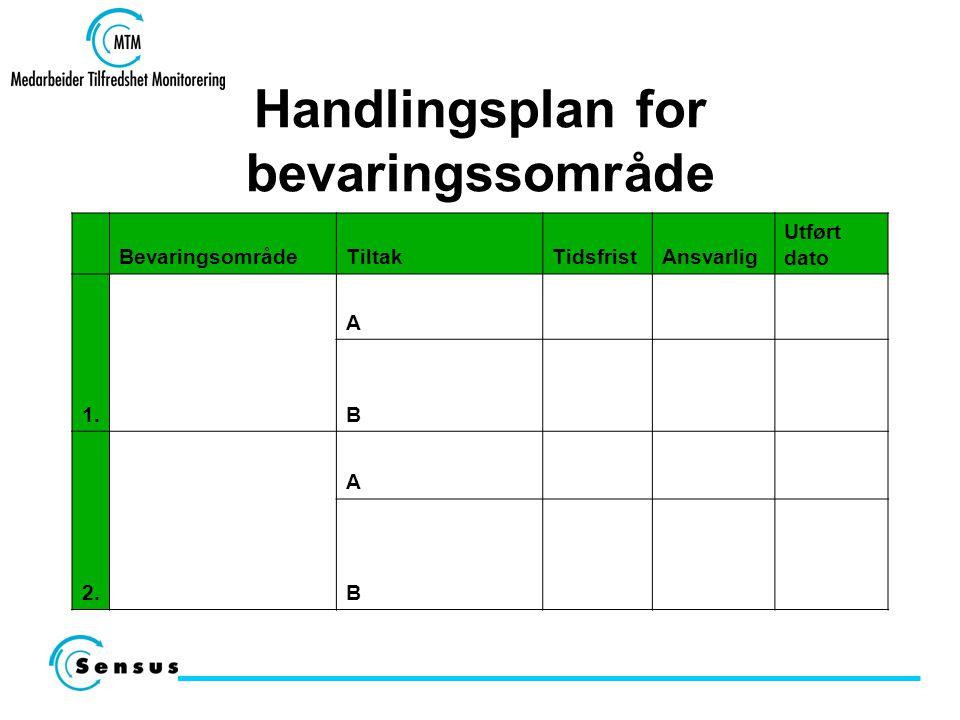 Handlingsplan for bevaringssområde BevaringsområdeTiltakTidsfristAnsvarlig Utført dato 1. A B 2. A B