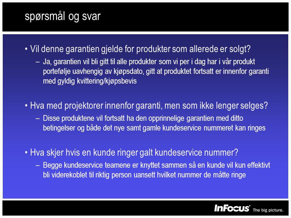 spørsmål og svar •Vil denne garantien gjelde for produkter som allerede er solgt.