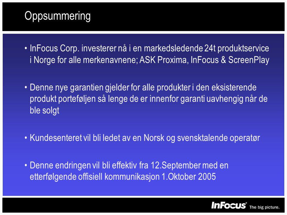Oppsummering •InFocus Corp.