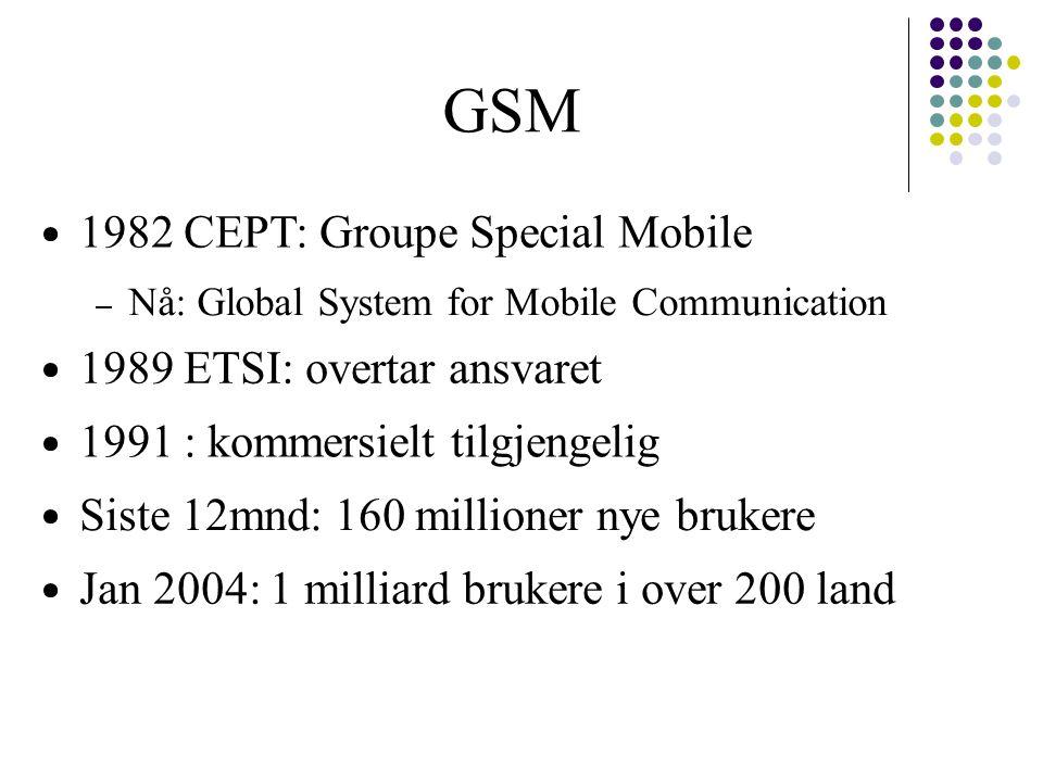 GSM 1982 CEPT: Groupe Special Mobile Nå: Global System for Mobile Communication 1989 ETSI: overtar ansvaret 1991 : kommersielt tilgjengelig Siste 12mn