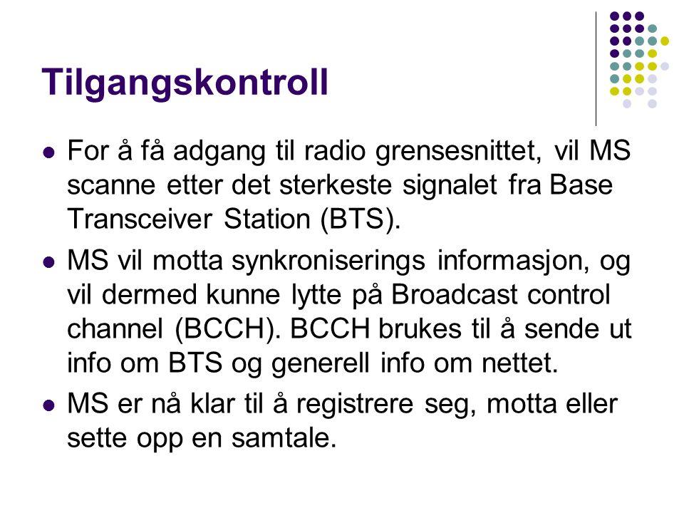 Tilgangskontroll  For å få adgang til radio grensesnittet, vil MS scanne etter det sterkeste signalet fra Base Transceiver Station (BTS).