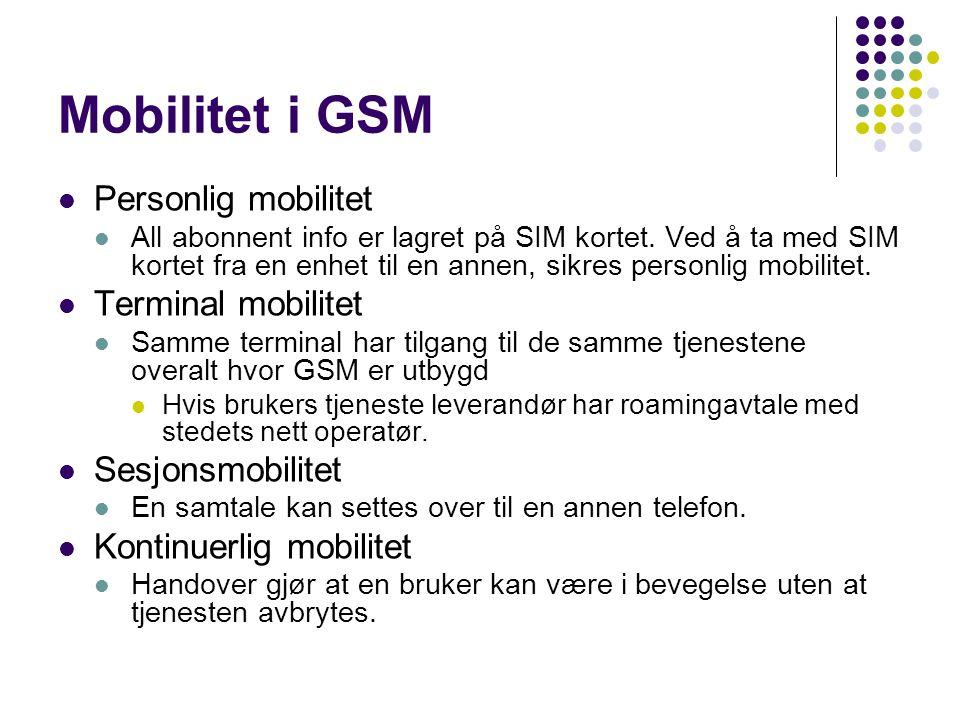 Mobilitet i GSM  Personlig mobilitet  All abonnent info er lagret på SIM kortet.