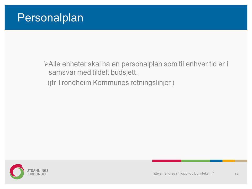 Personalplan  Alle enheter skal ha en personalplan som til enhver tid er i samsvar med tildelt budsjett. (jfr Trondheim Kommunes retningslinjer ) Tit