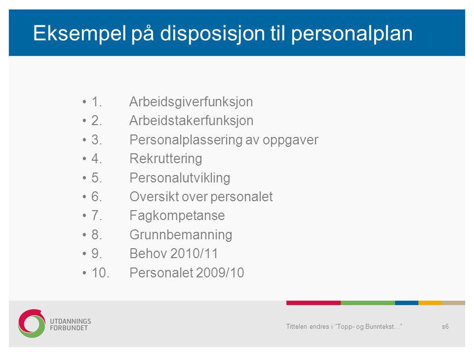 Eksempel på disposisjon til personalplan •1.Arbeidsgiverfunksjon •2.Arbeidstakerfunksjon •3.Personalplassering av oppgaver •4.Rekruttering •5.Personalutvikling •6.Oversikt over personalet •7.Fagkompetanse •8.Grunnbemanning •9.Behov 2010/11 •10.
