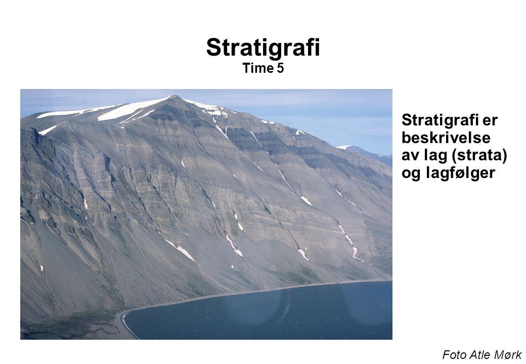 Stratigrafi Litostratigrafi Basert på bergart, -- litologi Biostratigrafi Basert på fossilinnhold KronostratigrafiBasert på tidsforståelse -- kronologi