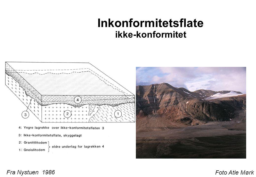 Inkonformitetsflate Diskonformitet Foto Atle Mørk Fra Nystuen 1986