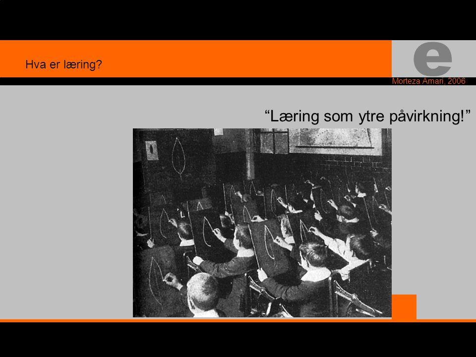 e Morteza Amari, 2006 Læring som ytre påvirkning! Hva er læring