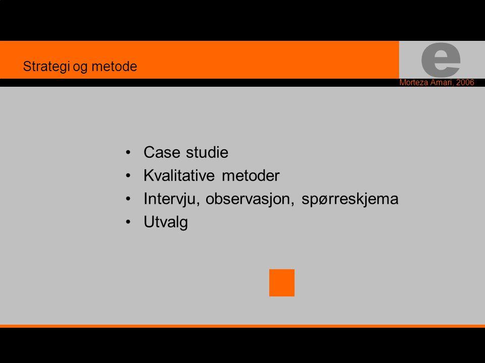 e Morteza Amari, 2006 •Case studie •Kvalitative metoder •Intervju, observasjon, spørreskjema •Utvalg Strategi og metode