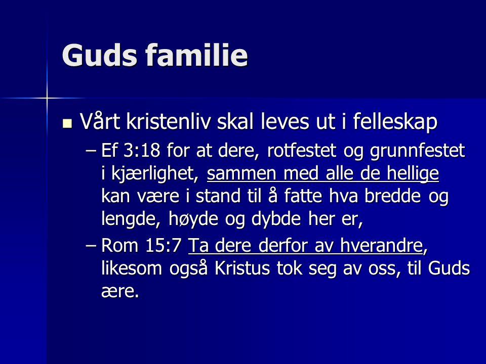 Guds familie  Vårt kristenliv skal leves ut i felleskap –Ef 3:18 for at dere, rotfestet og grunnfestet i kjærlighet, sammen med alle de hellige kan v
