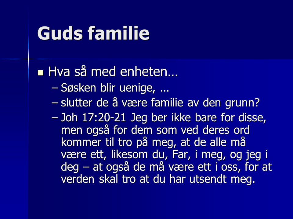 Guds familie  Hva så med enheten… –Søsken blir uenige, … –slutter de å være familie av den grunn? –Joh 17:20-21 Jeg ber ikke bare for disse, men også