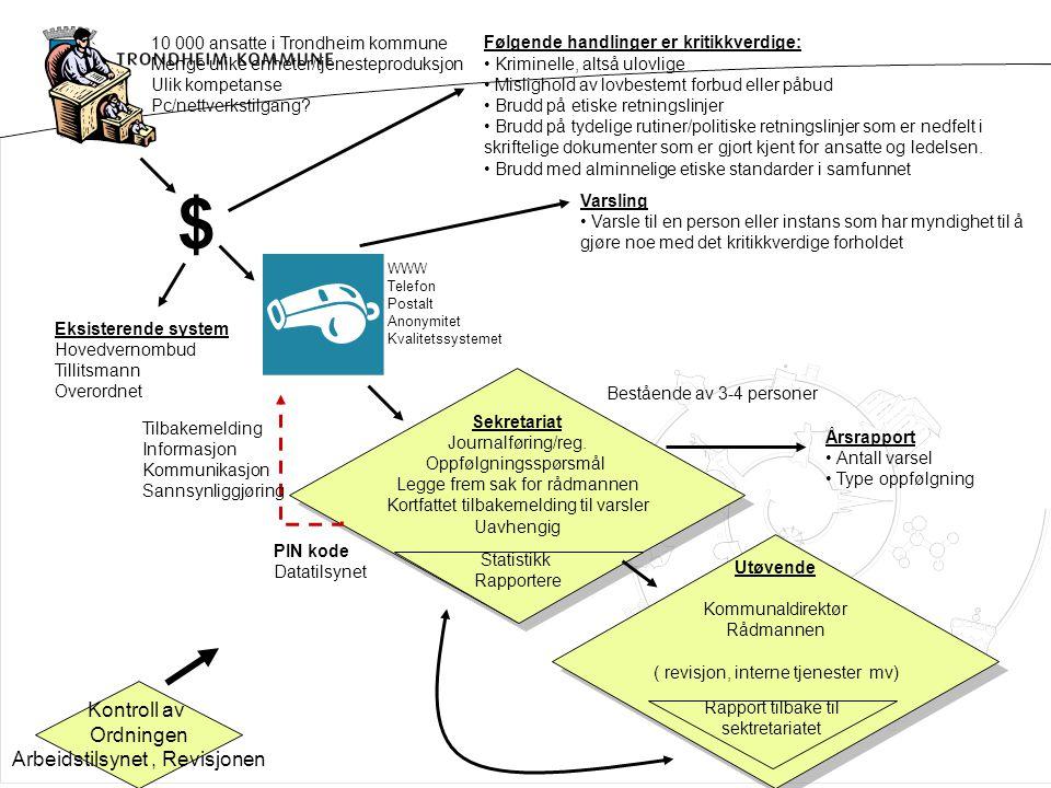 10 000 ansatte i Trondheim kommune Menge ulike enheter/tjenesteproduksjon Ulik kompetanse Pc/nettverkstilgang? Følgende handlinger er kritikkverdige: