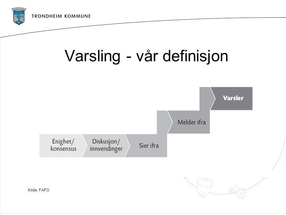 Varsling - vår definisjon Kilde: FAFO