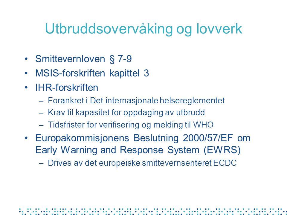 Utbruddsovervåking og lovverk •Smittevernloven § 7-9 •MSIS-forskriften kapittel 3 •IHR-forskriften –Forankret i Det internasjonale helsereglementet –Krav til kapasitet for oppdaging av utbrudd –Tidsfrister for verifisering og melding til WHO •Europakommisjonens Beslutning 2000/57/EF om Early Warning and Response System (EWRS) –Drives av det europeiske smittevernsenteret ECDC