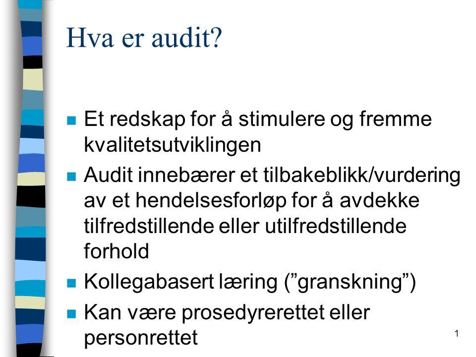 2 Forutsetninger for audit n Granskningen må skje frivillig n Fordel med lik yrkesgruppe n Positiv holdning til å bli gransket .