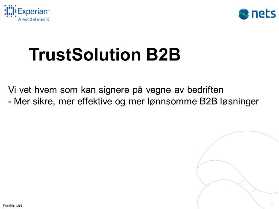 Konfidensielt 0 TrustSolution B2B Vi vet hvem som kan signere på vegne av bedriften - Mer sikre, mer effektive og mer lønnsomme B2B løsninger