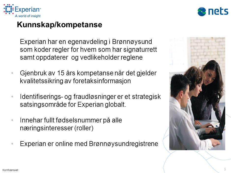 Konfidensielt 9 Experian har en egenavdeling i Brønnøysund som koder regler for hvem som har signaturrett samt oppdaterer og vedlikeholder reglene •Gj