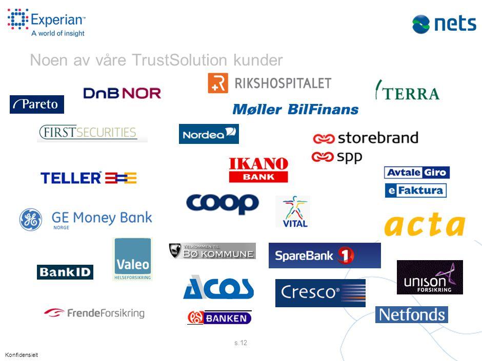 Konfidensielt s.12 Noen av våre TrustSolution kunder