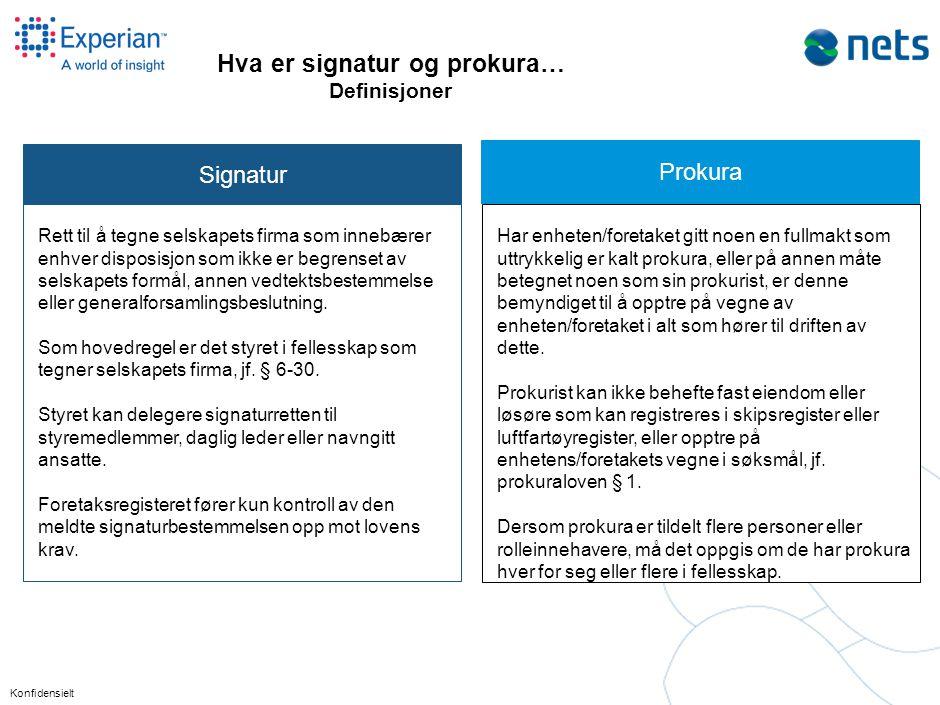Konfidensielt Hva er signatur og prokura… Definisjoner Signatur Rett til å tegne selskapets firma som innebærer enhver disposisjon som ikke er begrens
