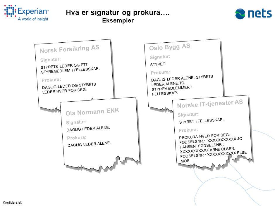 Konfidensielt Hva er signatur og prokura…. Eksempler Norsk Forsikring AS Signatur: STYRETS LEDER OG ETT STYREMEDLEM I FELLESSKAP. Prokura: DAGLIG LEDE
