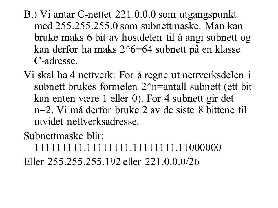 B.) Vi antar C-nettet 221.0.0.0 som utgangspunkt med 255.255.255.0 som subnettmaske.