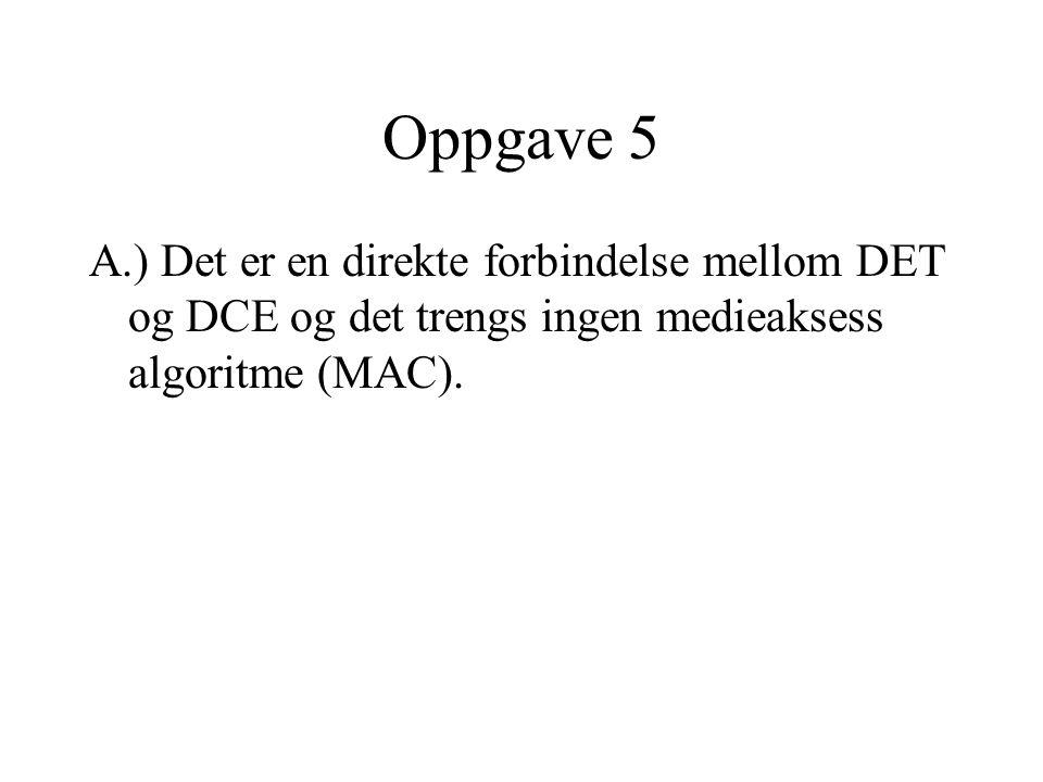 Oppgave 5 A.) Det er en direkte forbindelse mellom DET og DCE og det trengs ingen medieaksess algoritme (MAC).