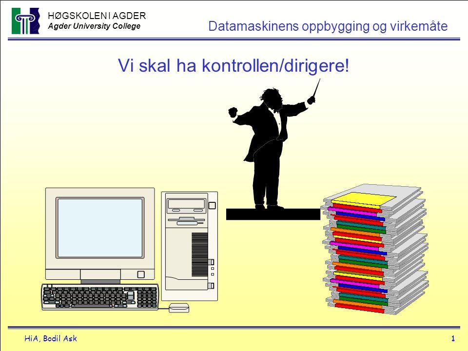 HØGSKOLEN I AGDER Agder University College HiA, Bodil Ask1 Datamaskinens oppbygging og virkemåte Vi skal ha kontrollen/dirigere!