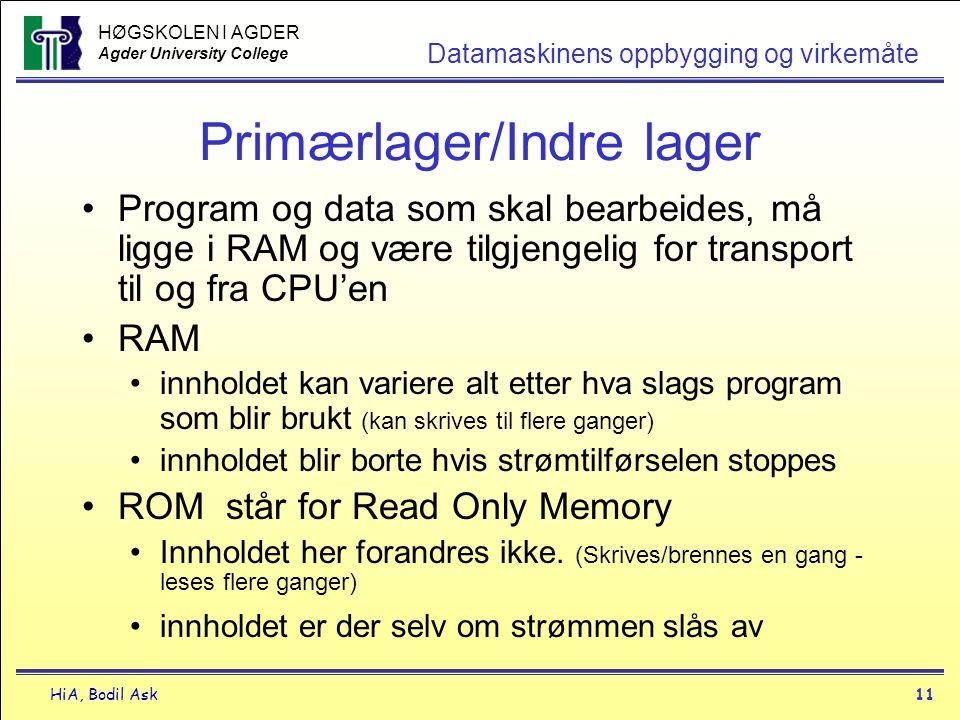 HØGSKOLEN I AGDER Agder University College HiA, Bodil Ask11 Datamaskinens oppbygging og virkemåte Primærlager/Indre lager •Program og data som skal be
